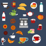 Breakfast food and drinks menu flat icons Stock Photography