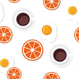Breakfast food and drinks pattern. Breakfast food and drinks in flat style vector pattern Royalty Free Stock Photography