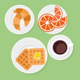 Breakfast food in flat style. Breakfast food and drinks flat style Stock Photos