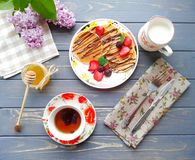 Breakfast. Food foto. Pancakes on the kithen royalty free stock photography