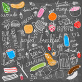 Breakfast food and icons doodle set. Hand drawn vector elements Stock Images