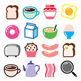 Breakfast food  icons set - toast, eggs, bacon, coffee Stock Image