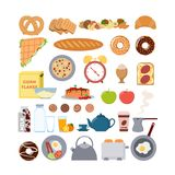 Breakfast food and items. Breakfast food and items set. Bread and eggs, alarm clock and toaster Royalty Free Stock Photo