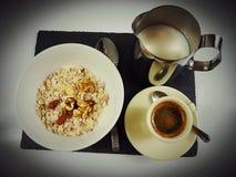 Breakfast food milk blackcoffee spoon. Food fresh tasty healthy drink blackplate Stock Photography