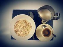 Breakfast food milk blackcoffee spoon. Plate cereals cornflakes eat delicious Royalty Free Stock Image