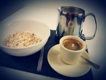 Breakfast food milk blackcoffee. Spoon teaspoon cornflakes bowl metal Royalty Free Stock Photos