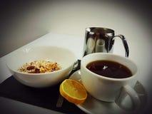 Breakfast food milk tea lemon cornflakes. Cereal lemon cup mug white drink eat Stock Images