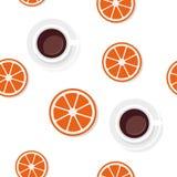 Breakfast food pattern in flat style. Breakfast food and drinks in flat style vector pattern stock illustration