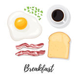 Breakfast food top view. Breakfast food. Egg, scrambled eggs, bacon, bread toast, herbs and coffee. Sunny side up eggs top view. Vector illustration isolated on Stock Photography
