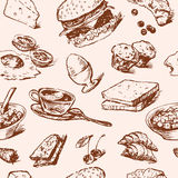 Breakfast foods pattern vector illustration