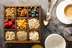Breakfast foods in a wooden box overhead shot Stock Photo