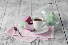 Breakfast with French colorful macarons Royalty Free Stock Images