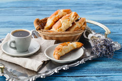 Breakfast with french croissant and bunch of lavender Royalty Free Stock Image