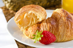 Breakfast with french croissants Royalty Free Stock Photography