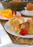 Breakfast with french croissants Stock Image