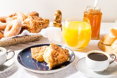 Breakfast with French Pastries, Bread, Cheese and Coffee royalty free stock photos