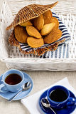 Breakfast. French pastries madeleines with cup of coffee. Selective focus Stock Photo