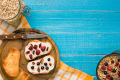 Breakfast of french toast with fresh berries Royalty Free Stock Photography