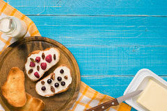 Breakfast of french toast with fresh berries Stock Photo