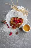 Breakfast. French toast with fresh cranberries and honey. 