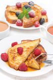 Breakfast - french toast with raspberries Royalty Free Stock Photography