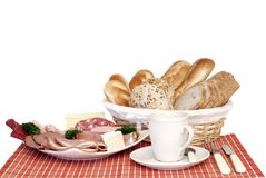 Breakfast, fresh baked  bread, cheese and meat Stock Image