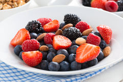 Breakfast with fresh berries, close-up. Horizontal Royalty Free Stock Photo