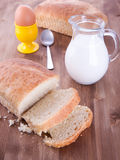 Breakfast with fresh bread Royalty Free Stock Image
