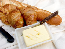 Breakfast, fresh bread. Stock Images