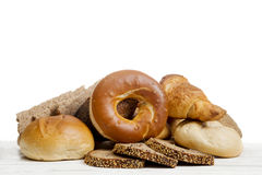 Breakfast with fresh bread, buns bagel stock images