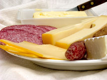 Breakfast, fresh bread, cheese and meat. Royalty Free Stock Photo