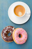 Breakfast with fresh coffee and donuts Stock Images