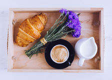 Breakfast with fresh croissant Royalty Free Stock Photo