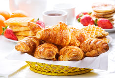 Breakfast with fresh croissants Royalty Free Stock Image
