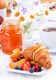Breakfast with fresh croissants Royalty Free Stock Photo