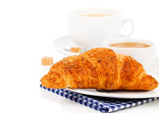 Breakfast with fresh croissants Stock Image