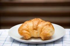 Breakfast with fresh croissants Stock Photos
