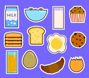 Free Breakfast Fresh Food And Drinks Flat Icons Set With Coffee Donut Fruit Juice Tea Cup Isolated Vector Illustration Royalty Free Stock Images - 107233669
