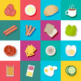 Breakfast fresh food and drinks flat icons set Royalty Free Stock Photos