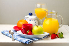 Breakfast with fresh fruits Royalty Free Stock Photography