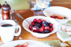 Breakfast with fresh fruits and coffee Stock Photography