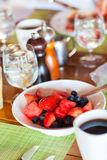 Breakfast with fresh fruits and coffee Royalty Free Stock Photo