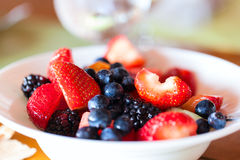 Breakfast with fresh fruits Stock Images