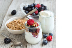 Breakfast with Fresh greek yogurt, muesli and berries Stock Photography