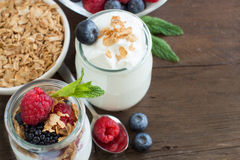 Breakfast with Fresh greek yogurt, muesli and berries Royalty Free Stock Images