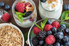Breakfast with Fresh greek yogurt, muesli and berries Royalty Free Stock Image