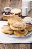 Breakfast. Fresh homemade English muffins royalty free stock photo