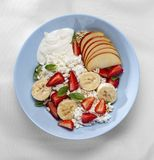 Breakfast, fresh, mixed, yogurt dressing, cinnamon greek, simple, fresh fruit, cream, ingredient procedure stock photos