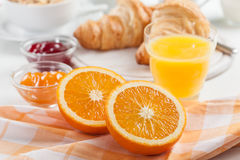 Breakfast with fresh orange juice Stock Photo