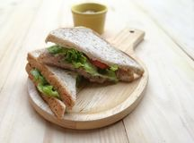 Breakfast fresh sandwiches. On the table Royalty Free Stock Photos